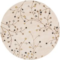 Surya Athena Floral 6' Round Handcrafted Area Rug in Ivory/Green