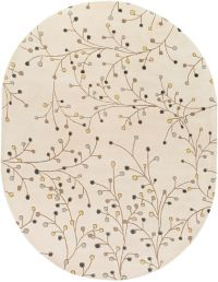 Surya Athena Floral 8' x 10' Hand Tufted Oval Area Rug in Ivory/Green