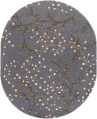Surya Athena Floral 8' x 10' Hand Tufted Oval Area Rug in Blue/Brown