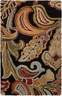 Surya Aurora Floral 2' x 3' Handcrafted Accent Rug in Black/Brown
