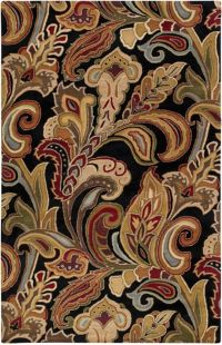 Surya Aurora Floral 5' x 8' Handcrafted Area Rug in Black/Brown