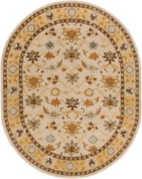 Surya Caesar Classic Floral 8' x 10' Oval Rug in Khaki/Tan