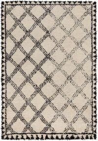Surya Riad Shag 4' x 6' Area Rug in Black/Ivory
