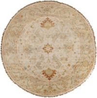 Surya Zeus 8' Round Hand Knotted Area Rug in Khaki