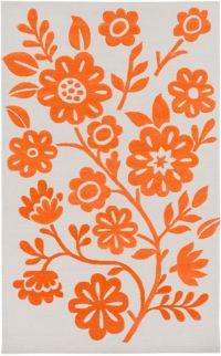 Surya Skidaddle Floral 5' x 7'6 Area Rug in Orange/Ivory