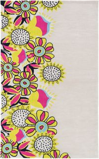 Surya Skidaddle Floral 7'6 x 9'6 Hand Tufted Area Rug in Lime/Pink