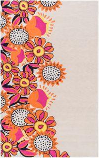 Surya Skidaddle Floral 5' x 7'6 Hand Tufted Area Rug in Orange/Pink