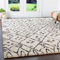 Surya Wilder 5'3 x 7'7 Shag Area Rug in Khaki/Dark Brown