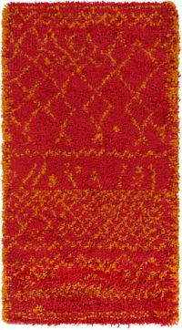 Surya Wilder Shag 2' x 3'7 Accent Rug in Bright Pink/Wheat