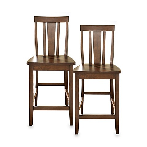 Crosley Shield-Back 24-Inch Bar Stools in Vintage Mahogany (Set of 2)