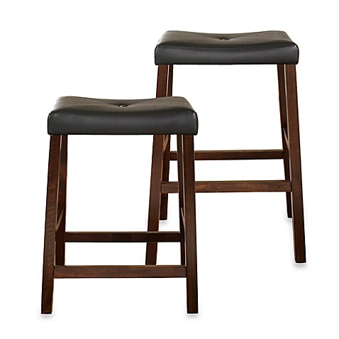 Crosley Upholstered Saddle Seat Bar Stools In Vintage