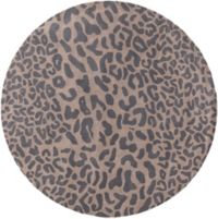 Surya Athena Animal 9' Round Hand-Tufted Area Rug in Black/Camel