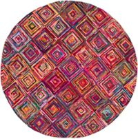 Surya Boho Modern 8' Round Area Rug in Bright Purple