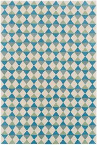 Surya Lina Geometric 5' x 7'6 Area Rug in Sky Blue/Sage