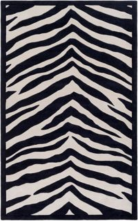 Leap Frog Animal Print 7'6 x 9'6 Area Rug in Black/Ivory