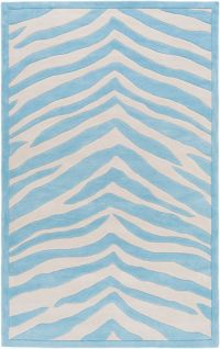 Leap Frog Animal Print 5' x 7'6 Area Rug in Sky Blue/Ivory