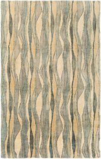 Surya Natural Affinity Waves 5' x 7'6 Area Rug in Cream/Sea Foam
