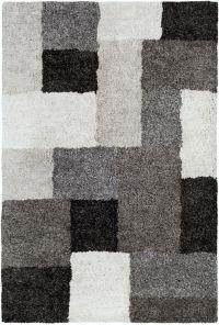 Surya Koryak Blocks 5' x 7'6 Area Rug in Black/Ivory