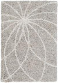 Surya Koryak Floral 5' x 7'6 Hand-Tufted Area Rug in Light Grey/Ivory