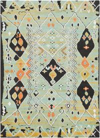Surya Moroccan Shag 2' x 3' Accent Rug in Aqua/Orange