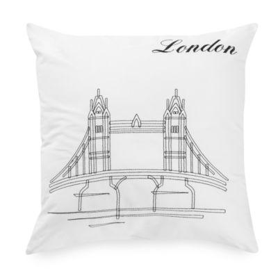 Passport Postcard London Square Throw Pillow in Black/White