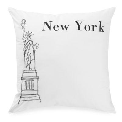 Passport Postcard New York Square Throw Pillow in Black/White