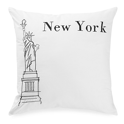 Passport Postcard New York Square Throw Pillow In Black
