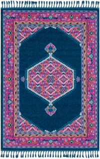 Surya Love Classic 2' x 3' Accent Rug in Navy/Pink