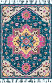 Surya Love Classic 2' x 3' Accent Rug in Sky Blue/Navy