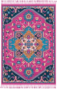 Surya Love Classic 2' x 3' Accent Rug in Bright Pink/Sky Blue
