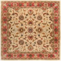 Surya Caesar Floral and Leaf 8' Square Area Rug in Orange