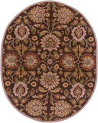 Surya Caesar Classic Floral 8' x 10' Oval Area Rug in Brown/Red