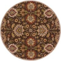 Surya Caesar 8' Round Hand Tufted Area Rug in Brown/Red