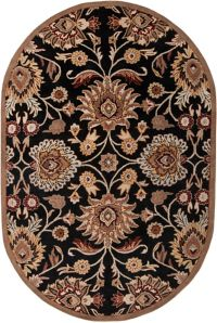Surya Caesar Classic Floral 6' x 9' Oval Area Rug in Brown/Red