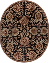 Surya Caesar Classic Floral 8' x 10' Oval Area Rug in Black/Brown