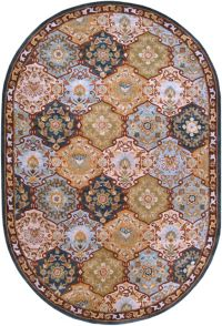 Surya Caesar Floral Medallion 6' x 9' Hand Tufted Oval Area Rug in Black/Green