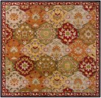 Surya Caesar Medallion 4' Square Hand Tufted Area Rug in Brown/Red