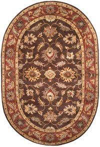 Surya Caesar Classic Floral 6' x 9' Oval Rug in Dark Brown