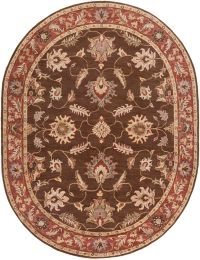 Surya Caesar Classic Floral 8' x10' Oval Rug in Dark Brown