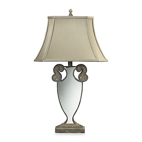 Sterling Montauk Grey Mirrored Table Lamp With Silver Taupe Faux Silk Shade and Cream Liner