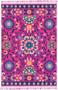 Surya Love 5' x 7'3 Area Rug in Bright Pink/Navy
