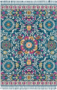 Surya Love Suzani 2' x 3' Accent Rug in Navy/Sky Blue
