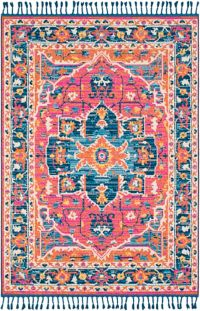 Surya Love Transitional 5' x 7'3 Area Rug in Bright Pink/Navy