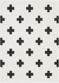 Surya Moroccan Cross 2' x 3' Shag Accent Rug in Black/White