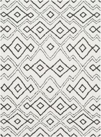 Surya Moroccan Diamond Abstract Shag 2' x 3' Accent Rug in Ivory/Black
