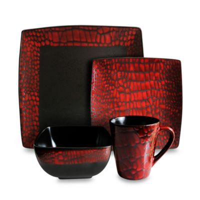 American Atelier 16-Piece Boa Red Dinnerware Set  sc 1 st  Bed Bath \u0026 Beyond : red and white dinnerware set - pezcame.com