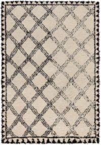Surya Riad Shag 9' x 13' Area Rug in Black/Ivory