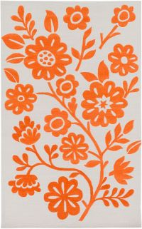 Surya Skidaddle Floral 3' x 5' Area Rug in Orange/Ivory