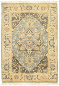 Surya Antique Classic 2' x 3' Accent Rug in Teal/Wheat
