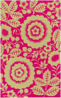 Surya Skidaddle Floral/Paisley 7'6 x 9'6 Area Rug in Pink